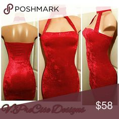 Custom made REBEL dress This fabric feels wonderful and shows of your beautiful curves. This red valour dress has an attached choker, finishing with swarovski crystals to capture the night. V.V.PreCise Designs   Dresses Midi