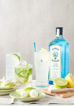 Bombay Sapphire Gin & Fever-Tree Tonic: 1 part Bombay Sapphire Gin, 3 parts Fever-tree tonic and serve with lime wedges
