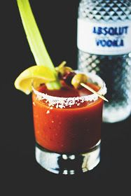 Une-deux senses: Spicy Bloody Marys Blue Cheese Stuffed Olives, Vodka Mixes, Bloody Mary Bar, Bloody Mary Recipes, Cocktail Recipes, Cocktails, Cocktail Drinks, Yummy Drinks, Food For Thought