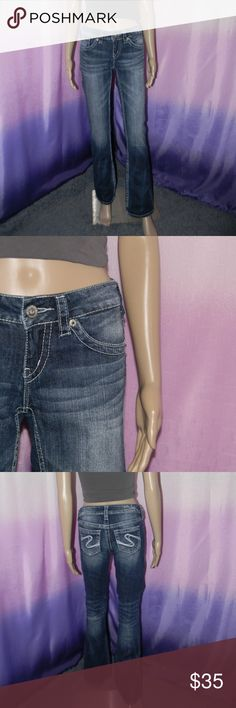 "Silver Jeans Dark Wash Bootcut Jeans Size 25, very good condition, Aiko Bootcut, 99% cotton 1% spandex, 13.5"" waist, 33"" inseam, worn 3-5 times -Sorry NO TRADES and NO HOLDS -Ships from California -Comes from smoke free, dog friendly homes -I can't model at this time, the mannequin measurements are 32.5"" bust, 24"" waist, 34"" hips, and is 5'10"" and a size S/M -Items are measured by hand and done laying flat Silver Jeans Jeans Boot Cut"
