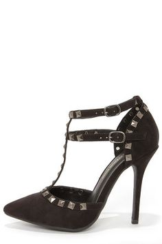 Wild Diva Lounge Adora 64 Black Suede Studded Pointed Heels