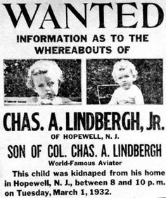 Flyers for the kidnapped Lindbergh baby.