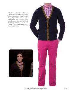 """Blaine (Played by Darren Criss) navy cardigan and magenta jeans ensemble. (Season 6) Navy blue cardigan with tan trim, magenta button-down shirt, magenta jeans, and bowtie ensemble worn by Blaine (Played by Darren Criss) in the Episode 5: """"The Hurt Locker, Pt. 2""""."""