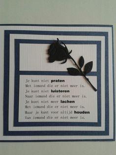 Condoleancekaart met gedicht en roos.
