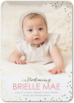 Spectacular Intro - Foil Stamped Girl Birth Announcement - Magnolia Press - Watermelon - Pink : Front