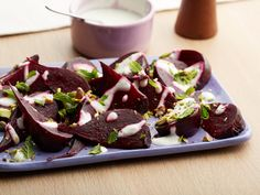 "Beets With Creamy Balsamic Vinaigrette and Mint -- save time and energy by ""roasting"" the beets in the microwave."
