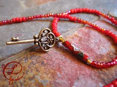 Unique Wrap Bracelet. Red Seed Beads Golden Key by LunaBanana, $18.00