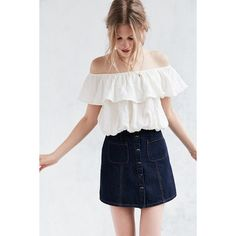 Kimchi Blue Ruffle Off-The-Shoulder Cropped Top ($39) ❤ liked on Polyvore featuring tops, white, ruffle top, off the shoulder tops, white ruffle top, off shoulder tops and summer tops