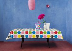 Oilcloth 'Dots' Multicolour by Kitsch Kitchen.