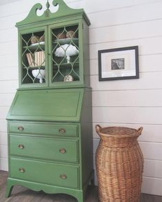 Painted Vintage Secretary Desk Hutch In Shackteau Interiors Milk Paint in Village Green. Upcycled Furniture, Antique Furniture, Home Furniture, Painting Furniture, Chalk Painting, Furniture Ideas, Refurbished Furniture, Painted Secretary Desks, Antique Secretary Desks
