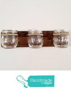 Tennessee Wicks Mason Jar Bathroom or Office Wooden Organizer with 3 - 8oz Jelly Jam Jars from Tennessee Wicks https://smile.amazon.com/dp/B01IM934OE/ref=hnd_sw_r_pi_dp_P7A7ybF1GCV22 #handmadeatamazon