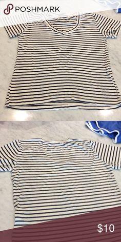 Brandy Melville black and white striped v neck Brandy Melville black and white striped v neck Brandy Melville Tops Tees - Short Sleeve
