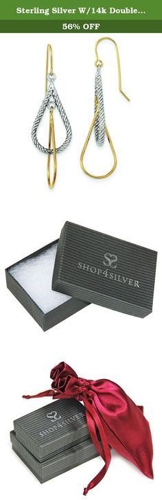 Sterling Silver W/14k Double Teardrop Dangle Earrings. Sterling Silver w/14k Double Teardrop Dangle Earrings (Polished, 14k Yellow gold, Sterling silver, Shepherd hook, Textured, Dangle).