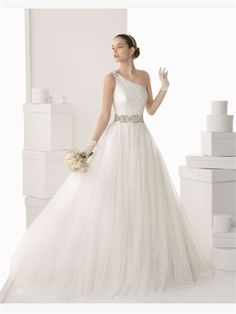 White Ball One Shoulder Beading Sash Organza 2014 Wedding Dresses AWD430470