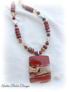 Fine Jasper gemstone pendant, Stone, Czech glass and silver metal beaded necklace. Gemstone jewelry.