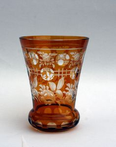 Bohemian Amber-to-Clear Cut Crystal  Goblet