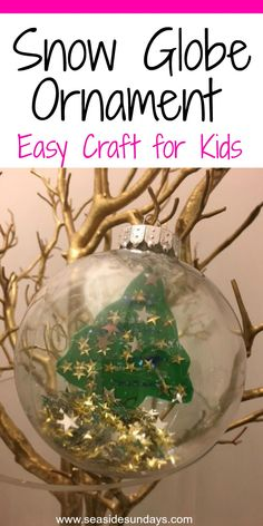 Easy Christmas craft for kids, make this snowglobe ornament for the holidays #christmas #holidaycrafts #ornaments via @seasidesundays