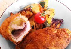 Fácánmell parmezánnal és sonkával töltve Bacon, Eggs, Meat, Chicken, Breakfast, Ethnic Recipes, Food, Drink, Morning Coffee