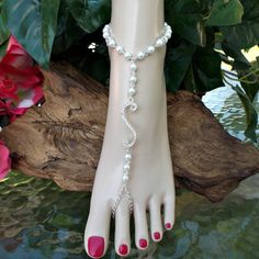 Crystals and Pearls Barefoot Sandals Rhinestone Beach Wedding Anklet Toe Ring Foot Jewelry