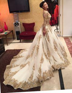 Wedding dresses,a-line wedding dresses,gold lace wedding dress,long sleeve bridal gown,gorgeous wedding indian wedding gowns - Wedding Gown Bridal Lehenga, Bridal Gowns, Prom Gowns, Dress Prom, Party Dress, Gown Dress, Lace Dress, Muslim Prom Dress, Lehenga Choli