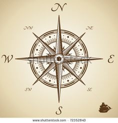 stock vector : Vector compass. Height quality illustration. Old style.