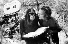 Clint Eastwood and Manis the orangutan on the set of Every Which Way But Loose