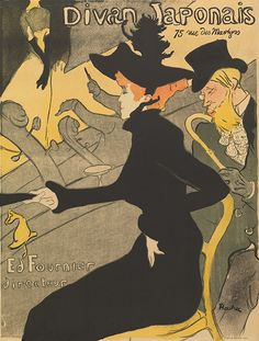 Divan Japonais by Henri de Toulouse-Lautrec - Divan Japonais is a poster that the Impressionist Henri de Toulouse-Lautrec designed for a Paris cafe. Learn about Toulouse-Lautrec's Divan Japonais. Henri De Toulouse Lautrec, Art Nouveau Poster, Poster Art, Kunst Poster, Art Posters, Theatre Posters, Modern Posters, Canvas Poster, Impressionist