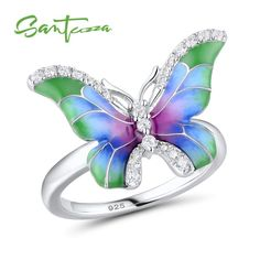 SANTUZZA Handmade Enamel Between the finger Ring For Women 925  Brown Butterfly White Flower Adjustable Rings Party Fashion Jewelry