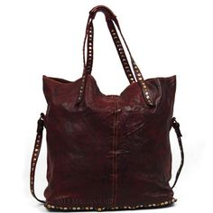3da2f95d1084 DE TONTI - Tall Leather Shoulder Tote with Studded Straps