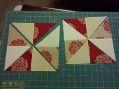 2 four patch blocks turn into 2 pinwheel blocks, easy, no half-square triangles.