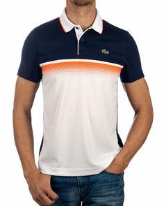 Polo Lacoste Sport Blanco Azul y Coral - Fashion City Camisa Polo, Camisa Lacoste, Lacoste Polo Shirts, Lacoste Sport, Sports Polo Shirts, Polo Rugby Shirt, Mens Polo T Shirts, Polo Shirt White, Rugby Shirts
