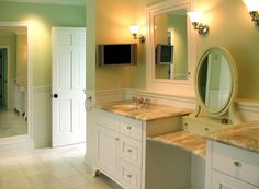 extra long bathroom vanity with builtin makeup station/bench