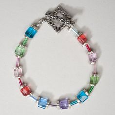 Colorful Crystal Cube Bracelet by ZDesignsJewelry on Etsy, $27.00