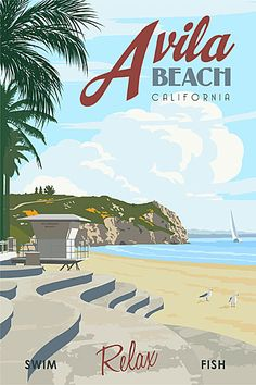 Just Looking Gallery - Steve Thomas RETRO AVILA BEACH TRAVEL POSTER.