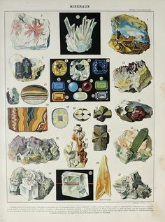 1900 Antique fine lithograph of PRECIOUS STONES, GEMSTONES: diamond, ruby, esmerald, gems. 112 years old print.