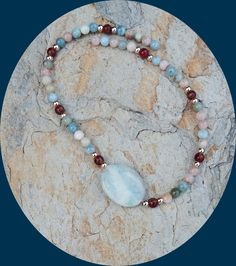 On Sale! Gorgeous Multicolored Morganite Beads, Rose Gold Plated Beads, Red Gold Jasper With Larimar Center Stone