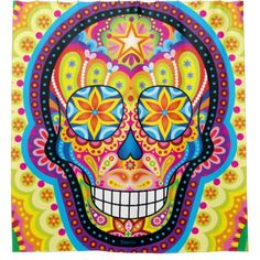 #Sugar Skull Shower Curtain - Day of the Dead Art - #Bathroom #Accessories #home #living