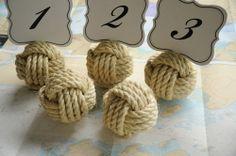 monkey knot centerpieces | 20 Sisal Wedding Number Holder Knots