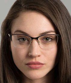 Versace Eyeglasses on model Glasses For Oval Faces, Cute Glasses, New Glasses, Girls With Glasses, Glasses Frames, Cat Eye Sunglasses, Sunglasses Women, Versace Eyeglasses, Rimless Glasses