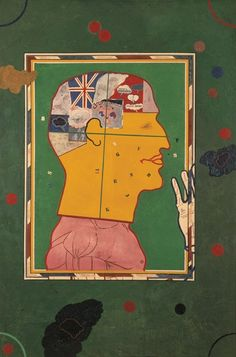 Derek Boshier, Man Playing Snooker and Thinking of Other Things, 1961 Contemporary Portrait Artists, Contemporary Art, Boxing Posters, Peter Blake, Pop Culture Art, Vintage Maps, Art Uk, Outsider Art, Cultura Pop