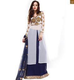 Lovely white colored georgette based designer dress comes with embroidered top around the neck and sleeves.