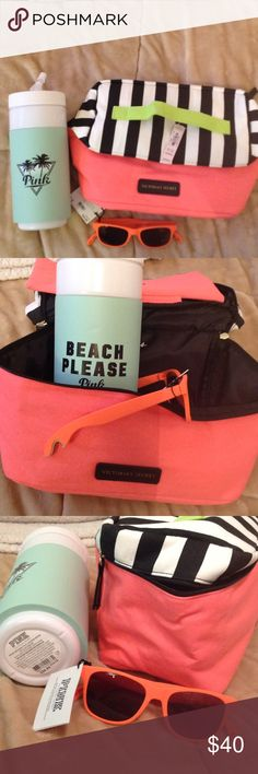 Victoria Secret/Pink products You get all 3 brand new, never used, with tags: Pink orange bottle opener sunglasses-Pink retro water bottle-Victoria Secret panty/bra travel case (11W x 9L x 5D) PINK Victoria's Secret Accessories