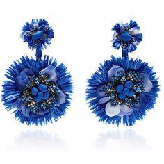 Ranjana Khan Blue Drop Flower Fan Earrings (5.272.855 IDR) ❤ liked on Polyvore featuring jewelry, earrings, blue, blossom jewelry, ranjana khan jewelry, flower jewellery, blue jewelry and earrings jewellery