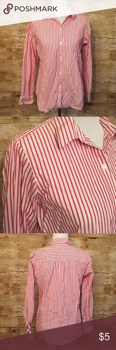 Red and white striped button down Minor signs of wear. (B10) Liz Claiborne Tops Tees - Long Sleeve