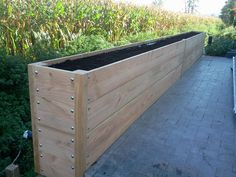 Garden boxes raised beds planters new ideas Wood Planter Box, Wood Planters, Garden Planters, Planter Ideas, Bamboo Planter, Raised Planter, Backyard House, Backyard Landscaping, Back Gardens