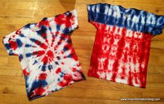 How to make a firework and flag design with Tie Dye for your kids of July t-shirts. Perfect to reuse old t-shirts! Kids Crafts, July Crafts, Summer Crafts, Holiday Crafts, Summer Fun, Patriotic Crafts, Holiday Ideas, Kids Diy, Summer Deco