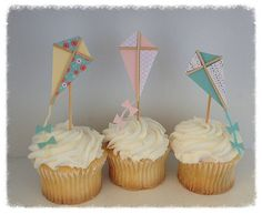 Twelve Shabby Chic Kite Cupcake Toppers for Birthday Party or Birthday Decoration
