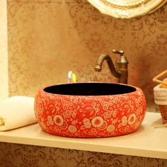 Ceramic wash basin counter basin art basin vintage handmade round kitchen sink 1202(China (Mainland))