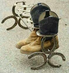 Horse shoe boot rack.