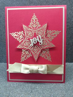 features Stampin Up's Bright & Beautiful stamp set and coordinating star framelits Homemade Christmas Cards, Stampin Up Christmas, Christmas Star, Christmas Crafts, Star Cards, Winter Cards, Paper Cards, Cool Things To Make, Cardmaking